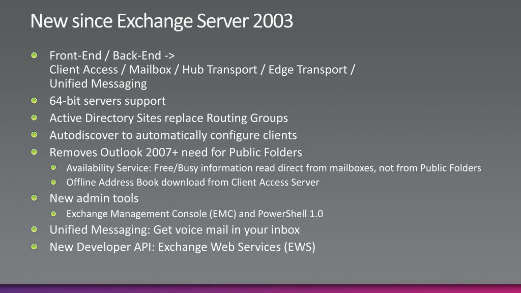 New since Exchange Server 2003