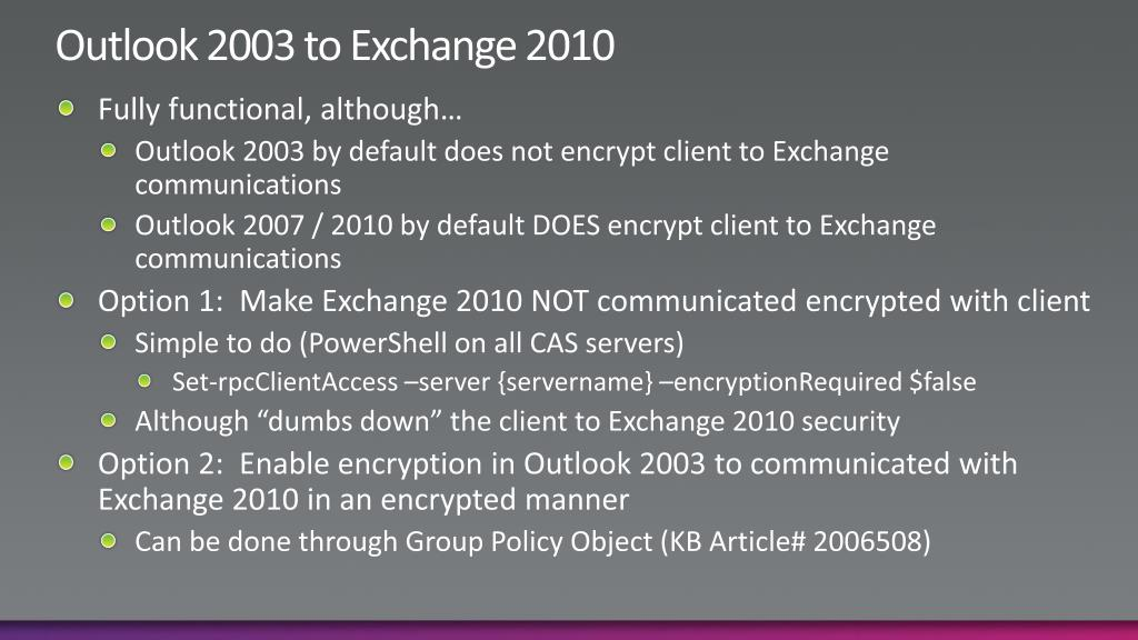 Outlook 2003 to Exchange 2010