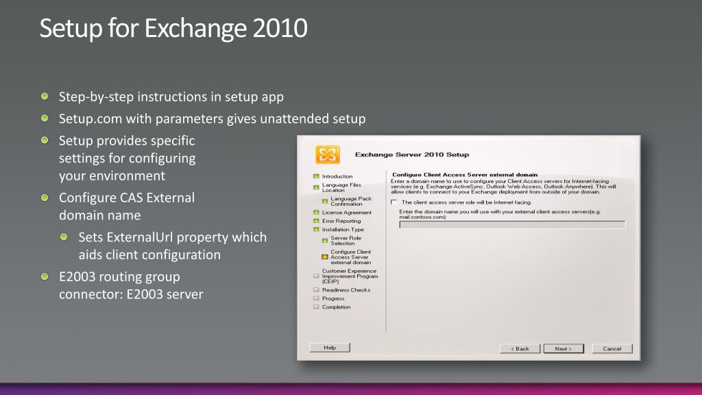 Setup for Exchange 2010
