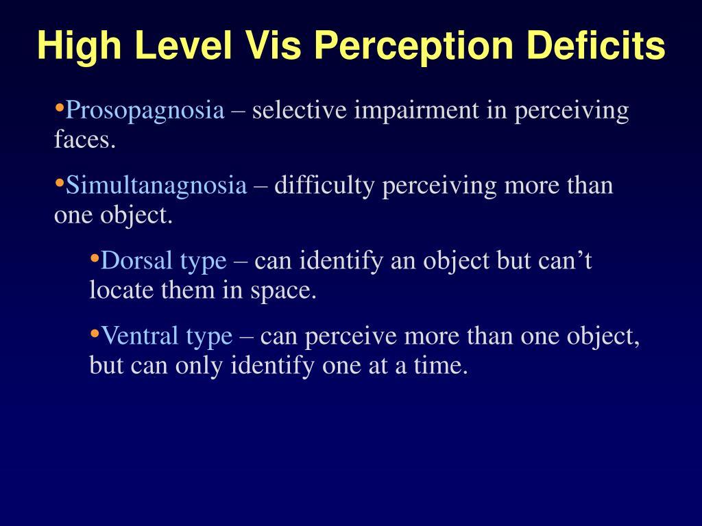 High Level Vis Perception Deficits