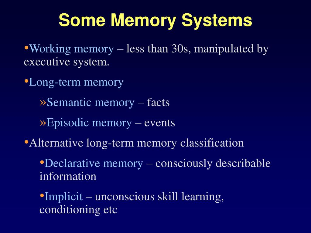 Some Memory Systems
