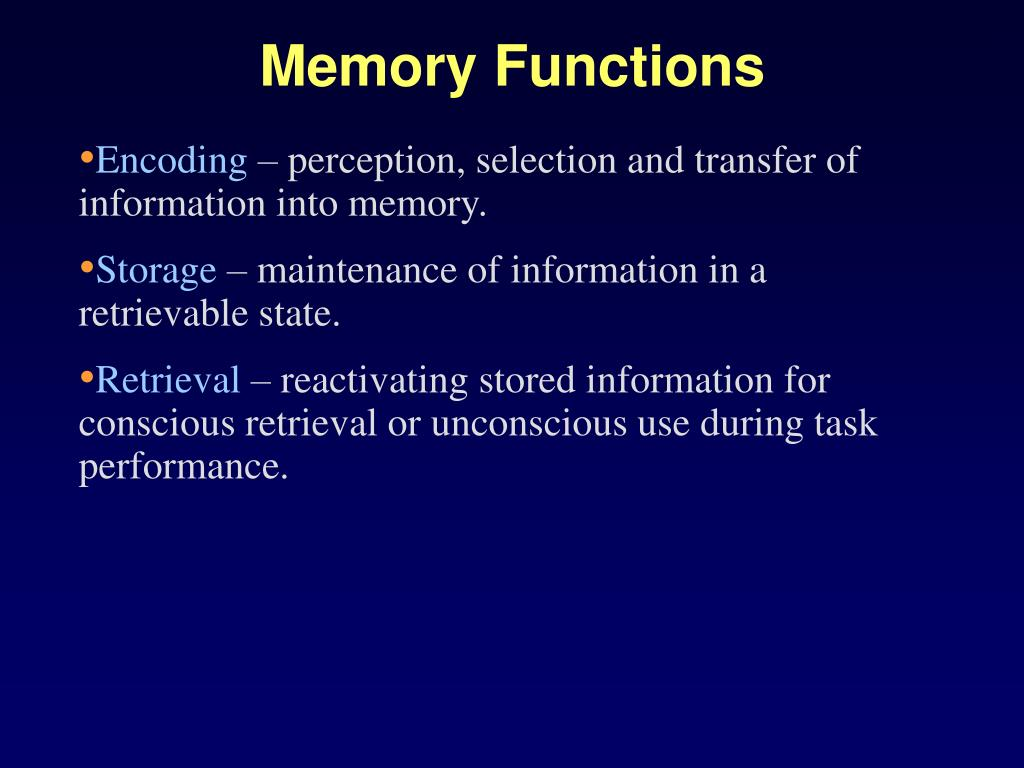 Memory Functions