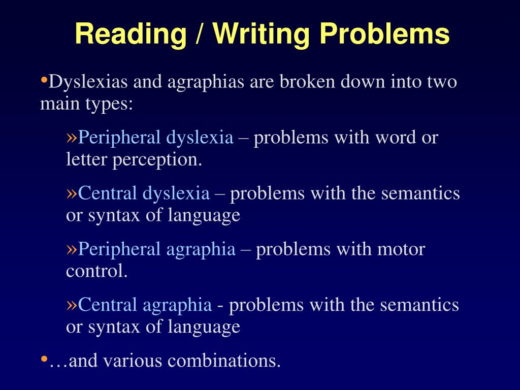 Reading / Writing Problems