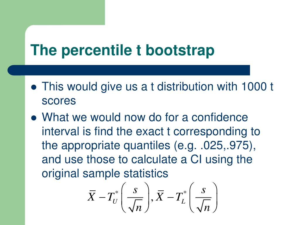 The percentile t bootstrap