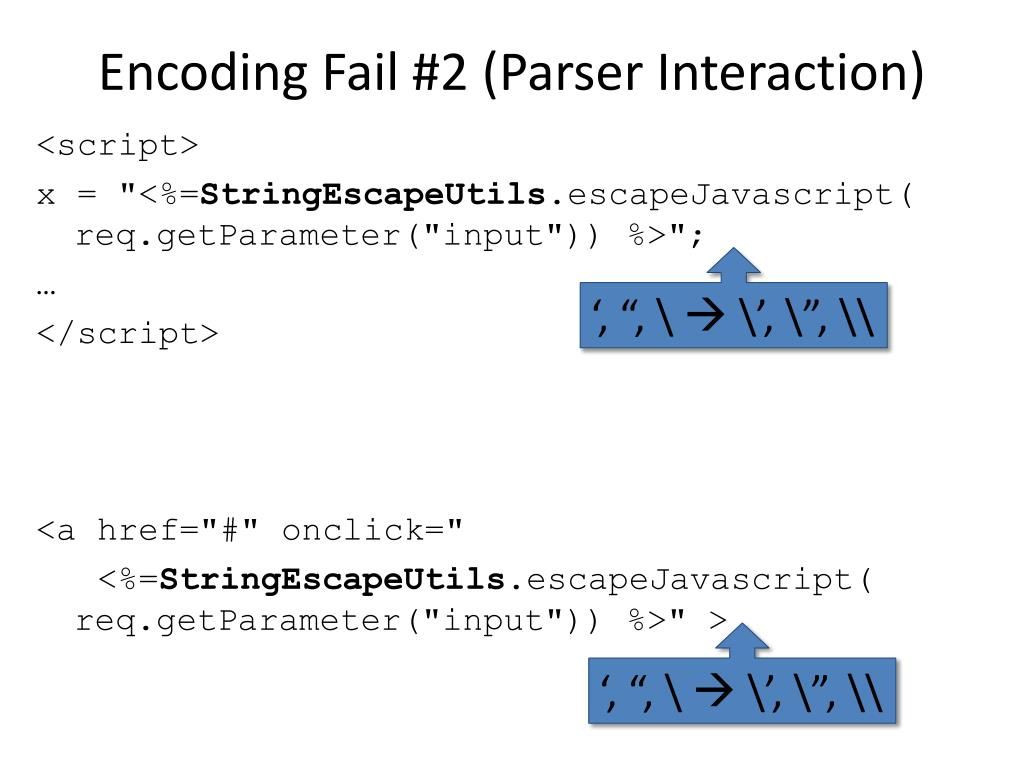 Encoding Fail #2 (Parser Interaction)
