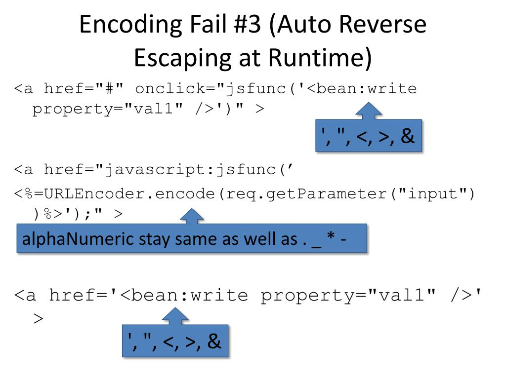 Encoding Fail #3 (Auto Reverse Escaping at Runtime)