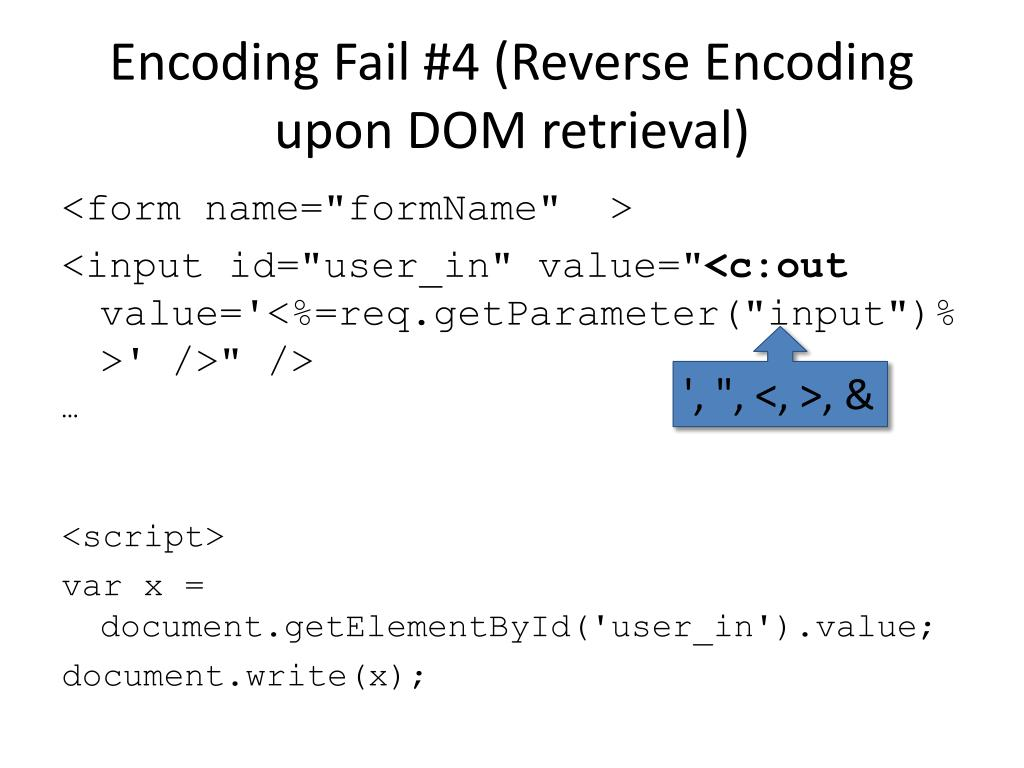 Encoding Fail #4 (Reverse Encoding upon DOM retrieval)