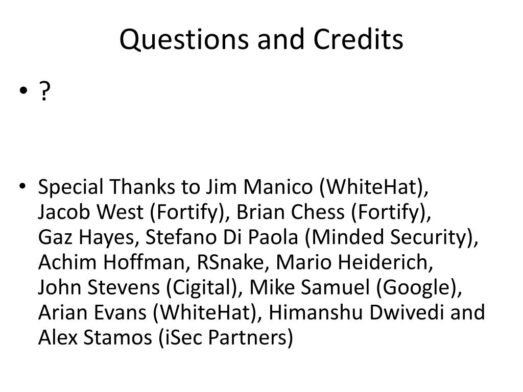 Questions and Credits
