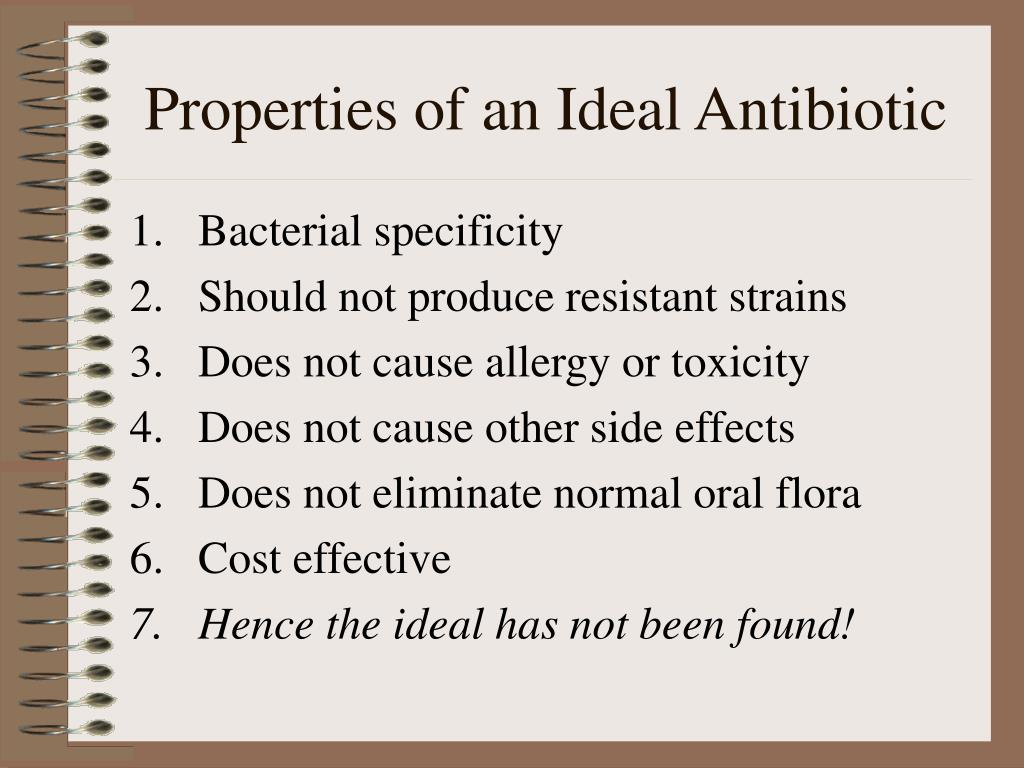 Properties of an Ideal Antibiotic