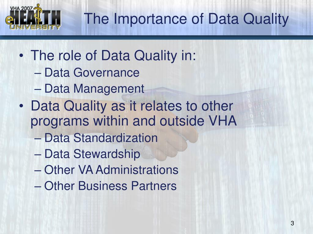 data and its importance in accurate Maritz sg data management: managing data as an because data management is an important function of that data must be accurate and relevant so that.