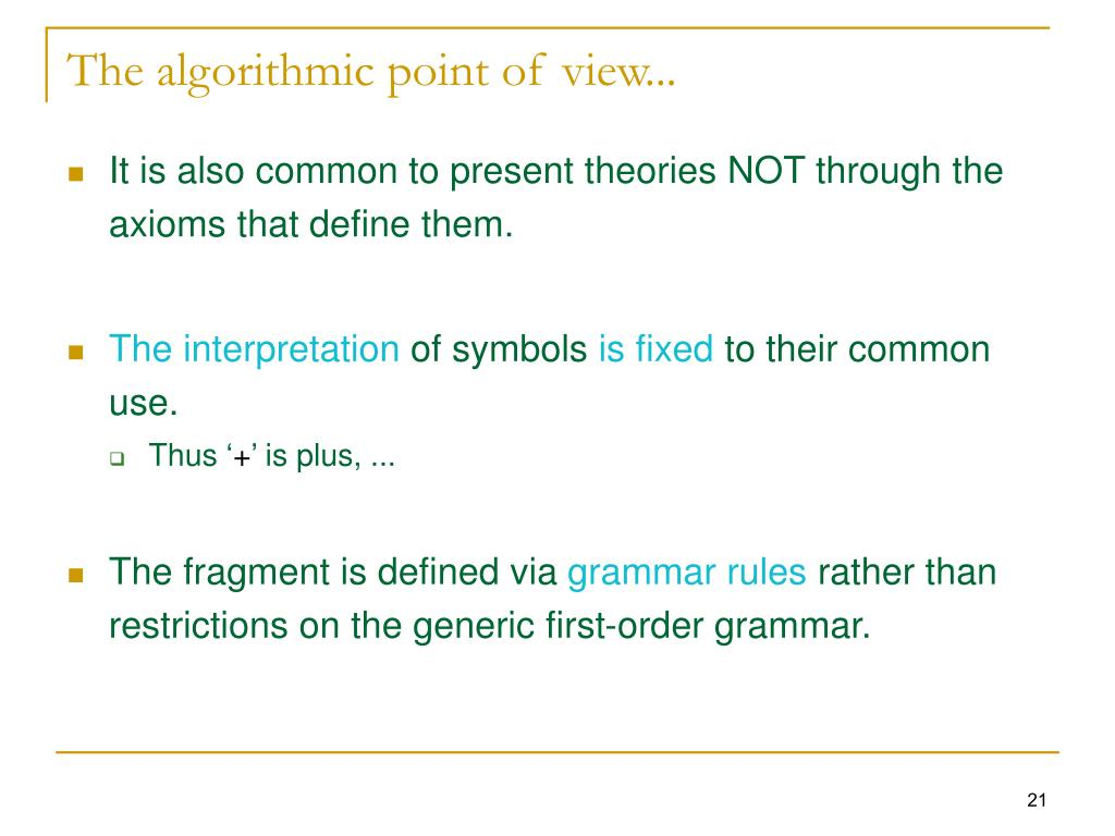 The algorithmic point of view...