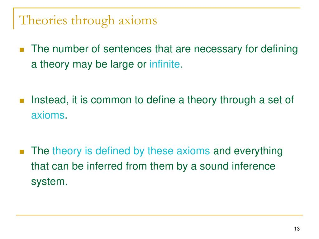 Theories through axioms