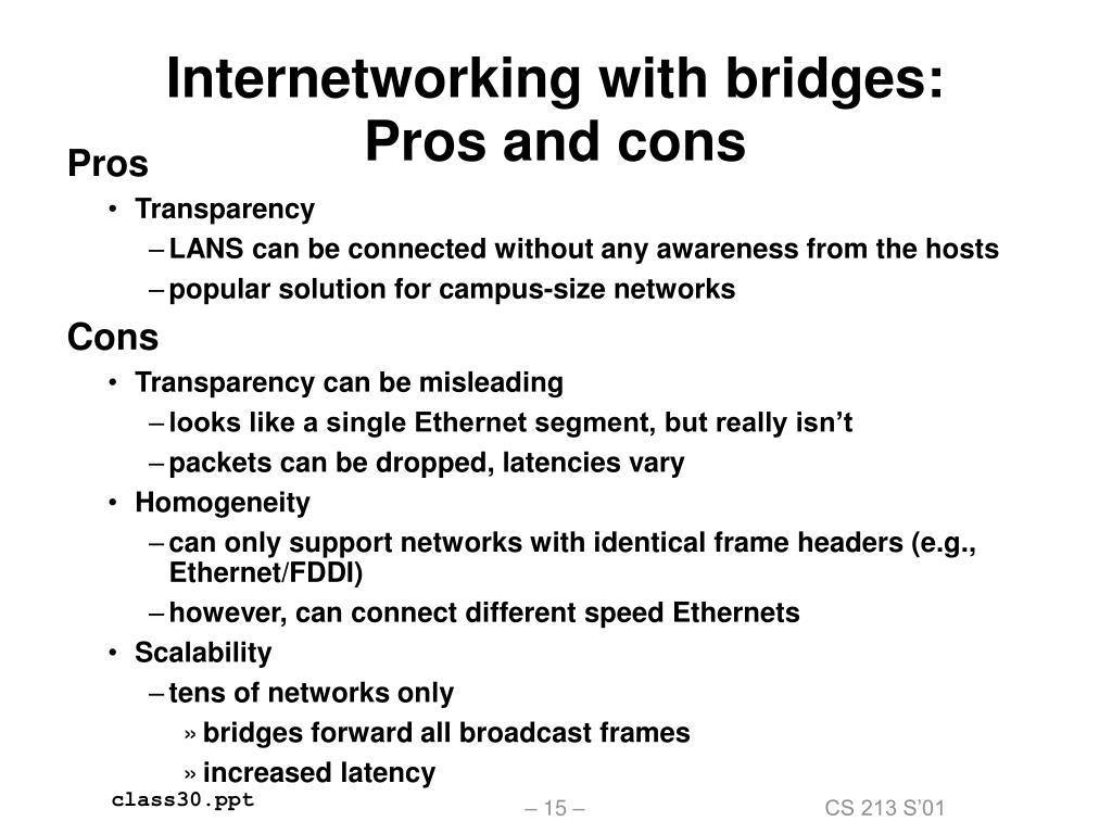 Internetworking with bridges: