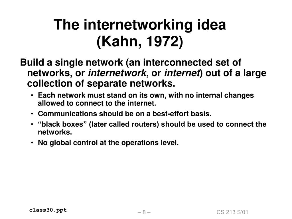 The internetworking idea (Kahn, 1972)