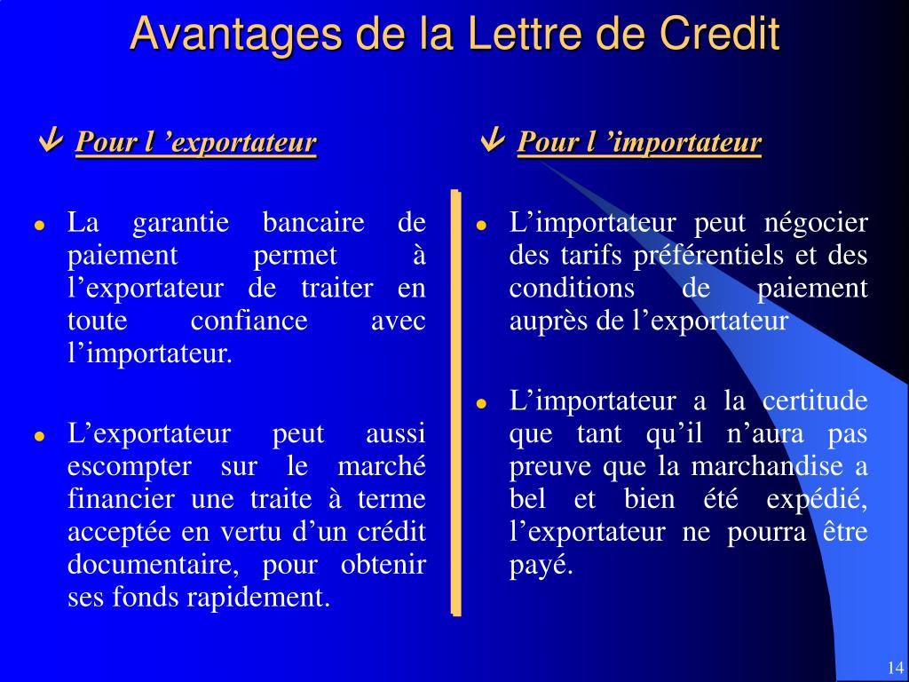 Avantages de la Lettre de Credit