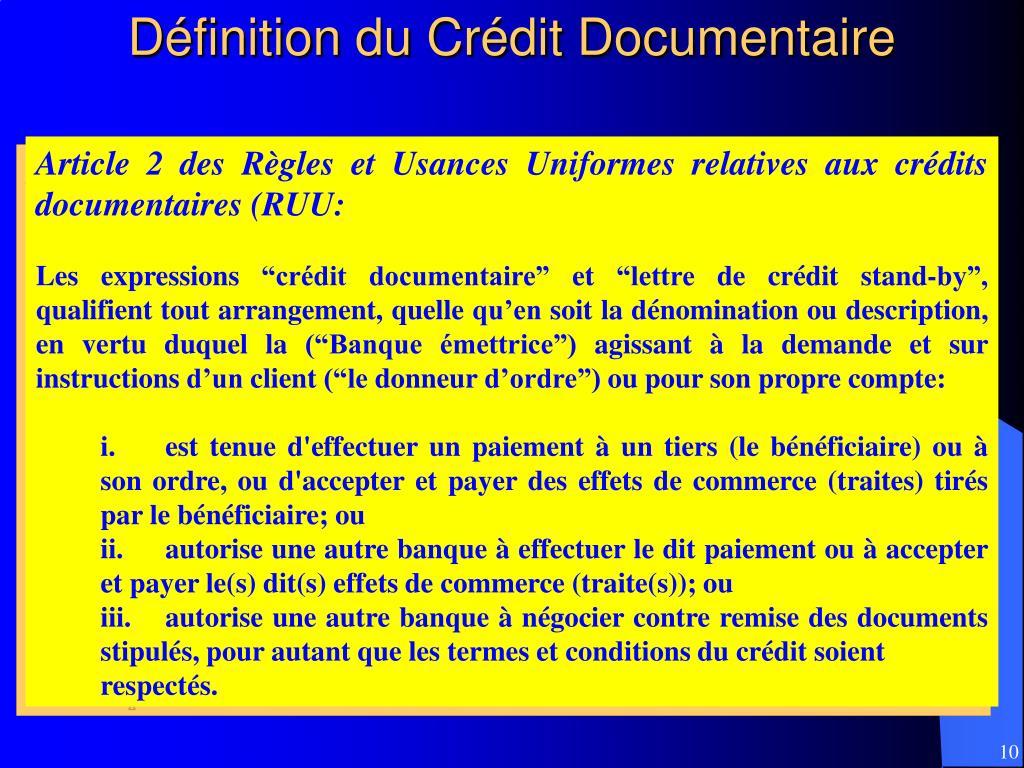 Définition du Crédit Documentaire