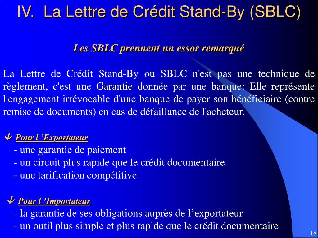 IV.  La Lettre de Crédit Stand-By (SBLC)