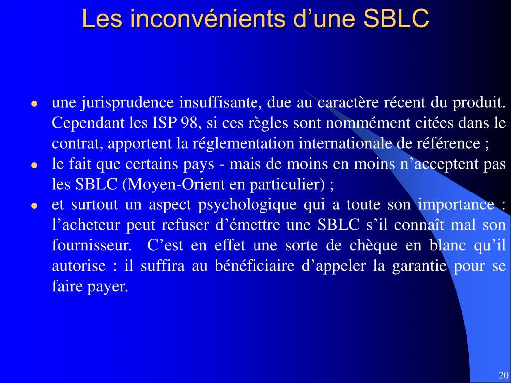 Les inconvénients d'une SBLC
