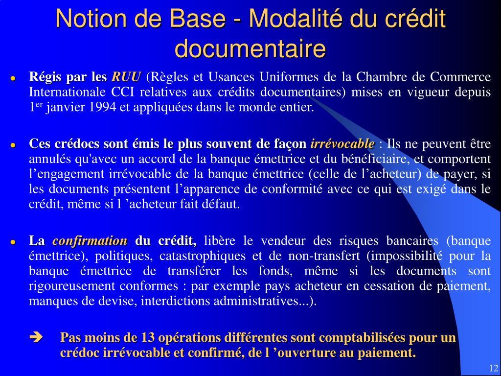 Notion de Base - Modalité du crédit documentaire