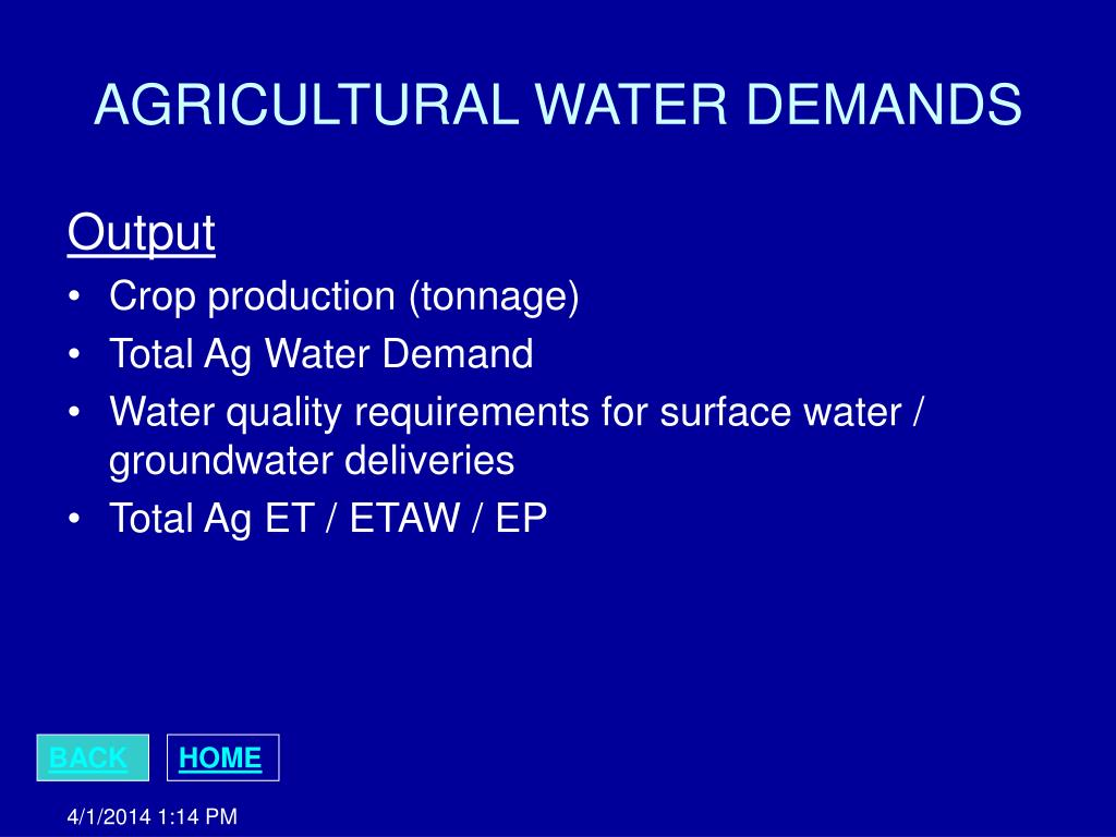 AGRICULTURAL WATER DEMANDS