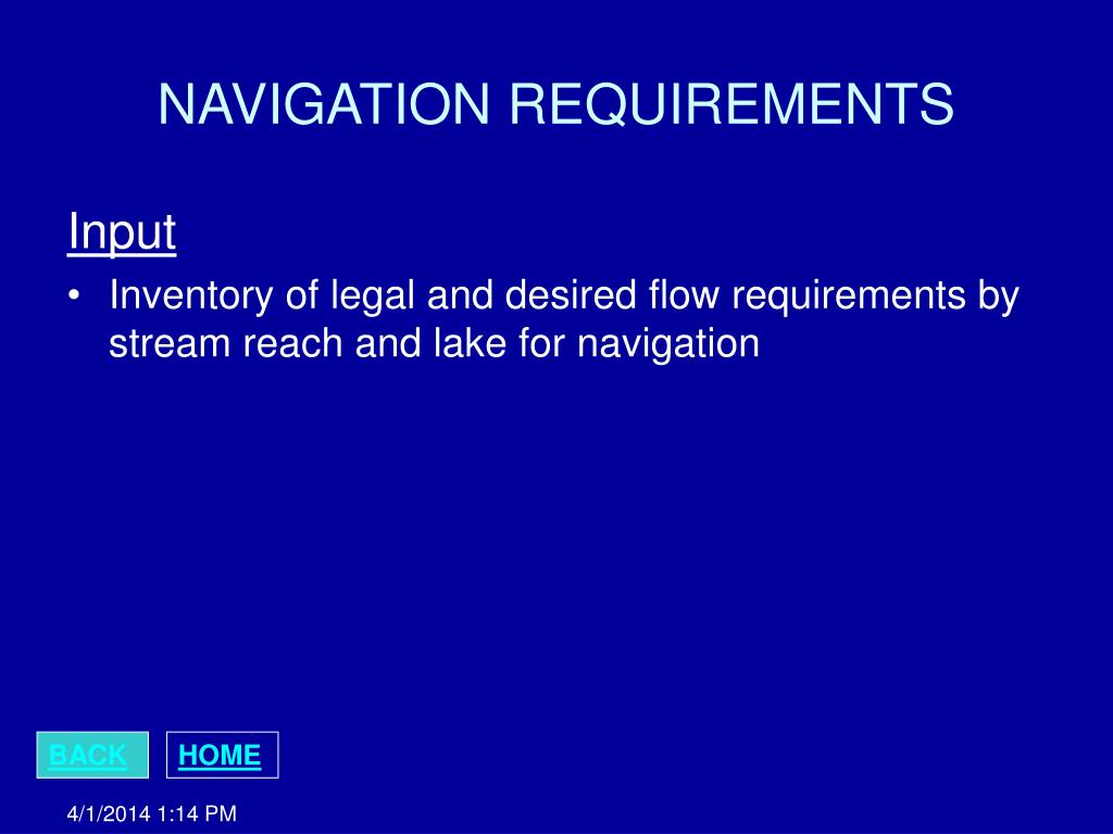NAVIGATION REQUIREMENTS