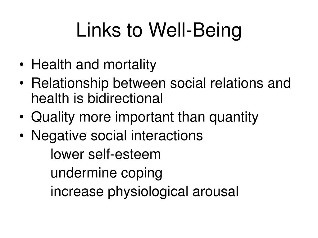 Links to Well-Being