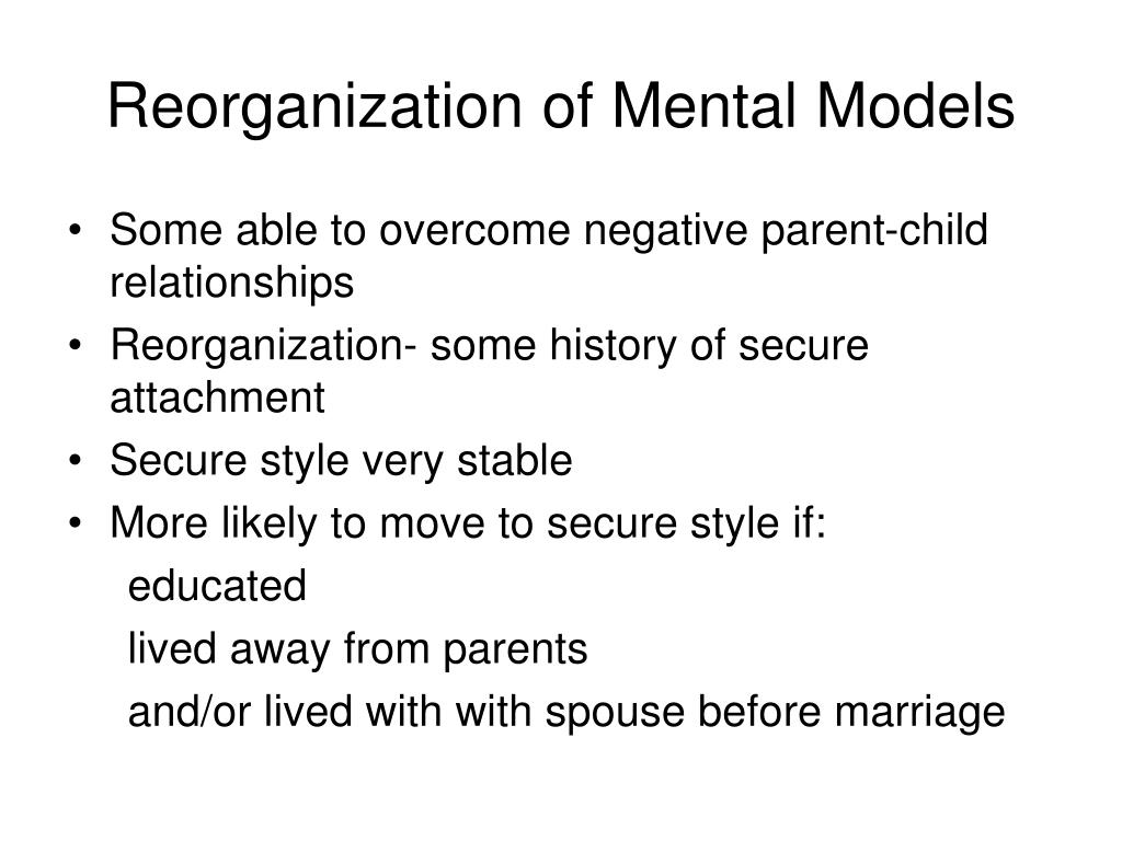 Reorganization of Mental Models
