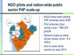 ngo pilots and nation wide public sector p4p scale up