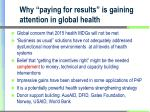 why paying for results is gaining attention in global health