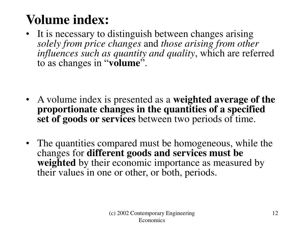 Volume index: