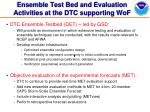 ensemble test bed and evaluation activities at the dtc supporting wof