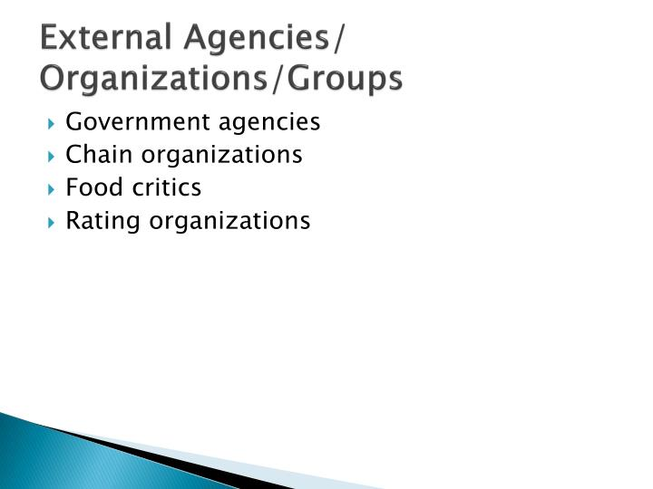 External agencies organizations groups