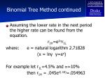 binomial tree method continued