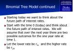 binomial tree model continued