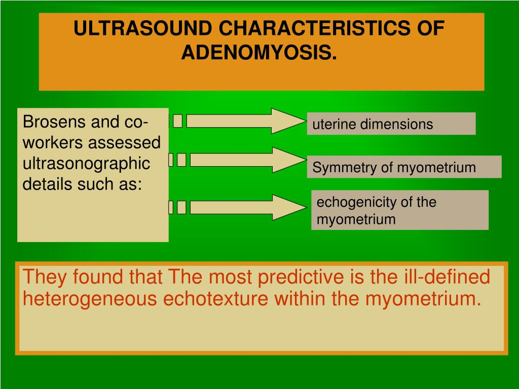 ULTRASOUND CHARACTERISTICS OF ADENOMYOSIS.
