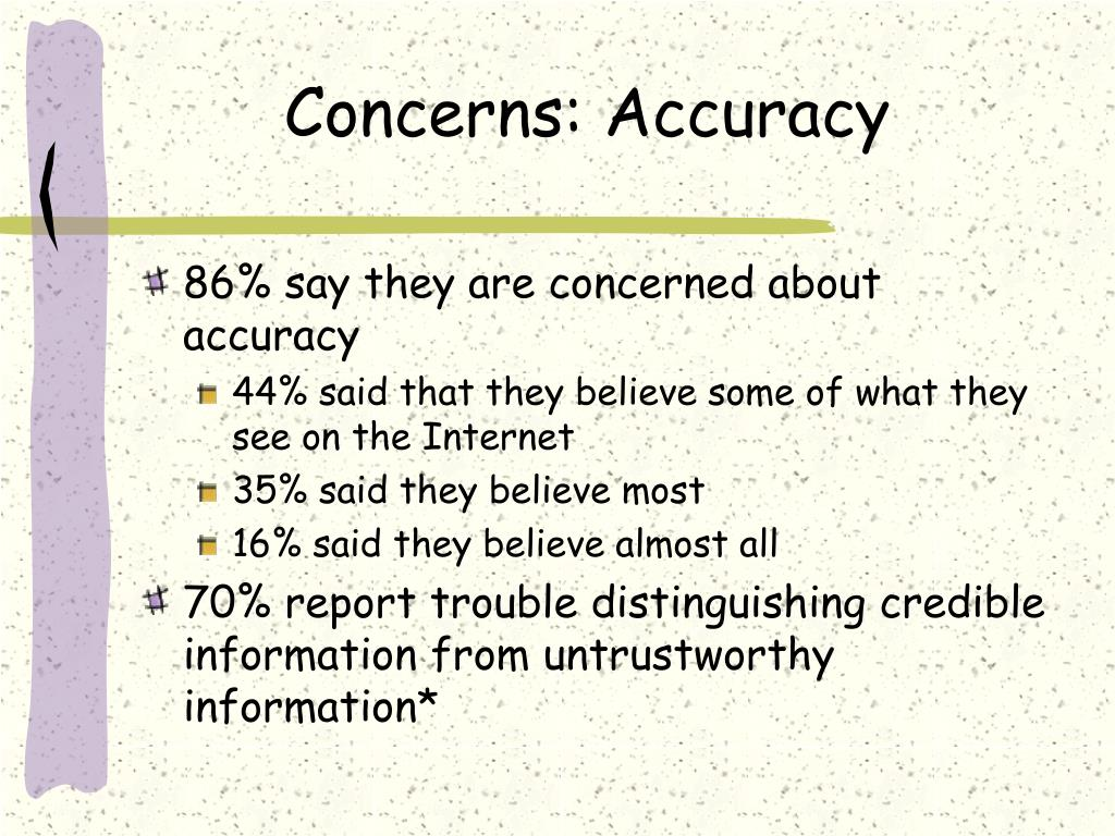 Concerns: Accuracy