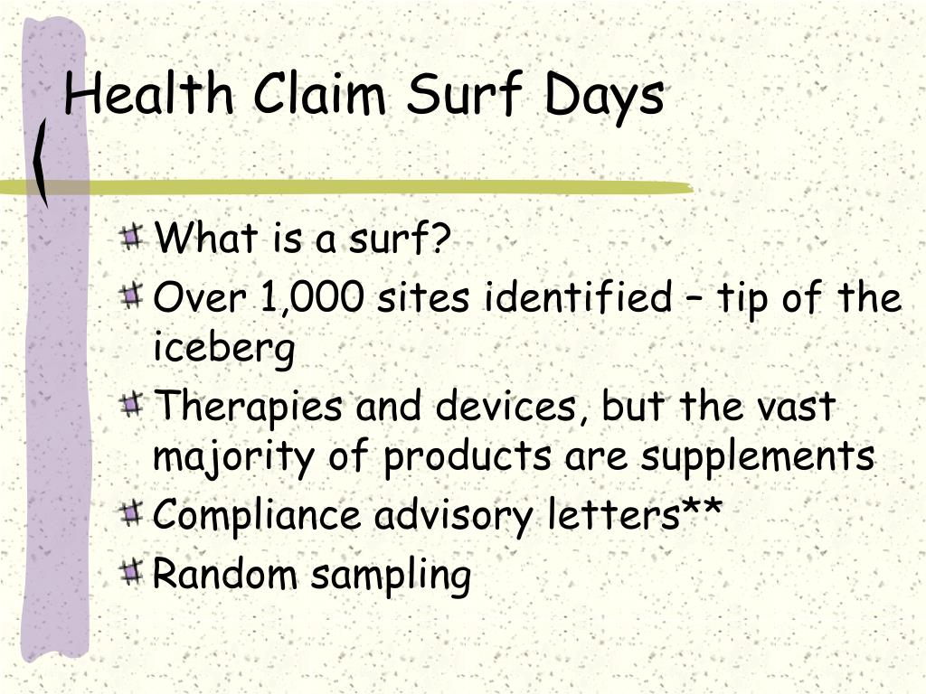 Health Claim Surf Days