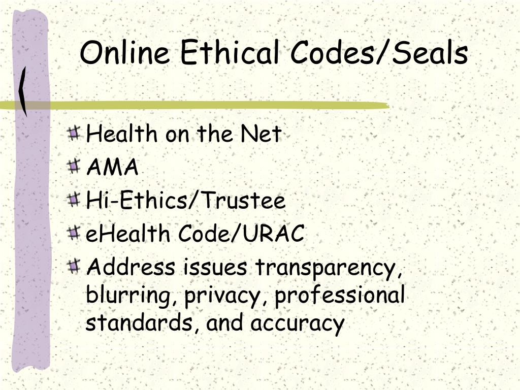 Online Ethical Codes/Seals