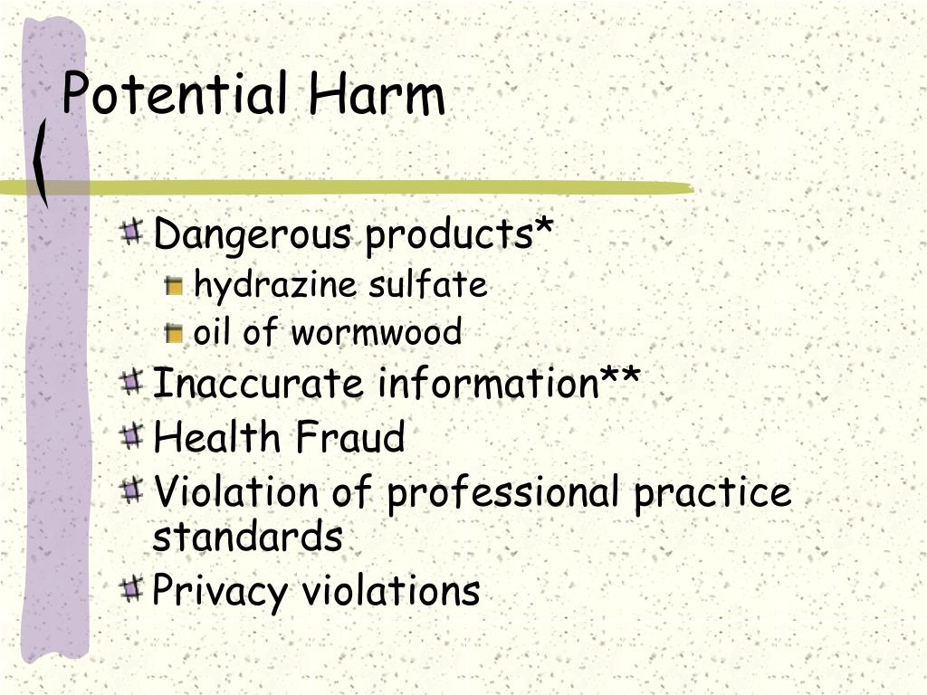 Potential Harm