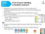 front of pack labelling evaluation research