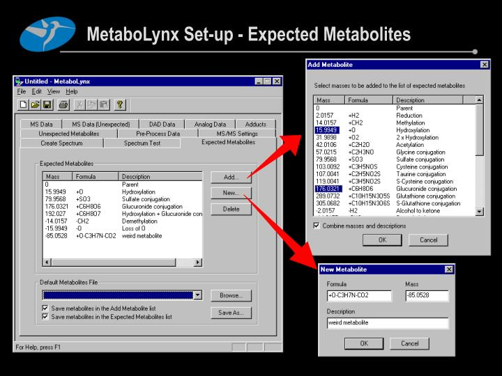 MetaboLynx Set-up - Expected Metabolites