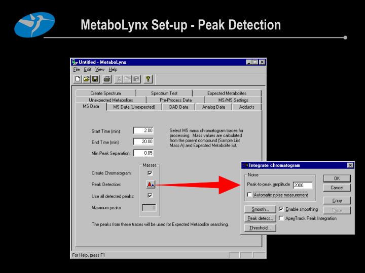 MetaboLynx Set-up - Peak Detection