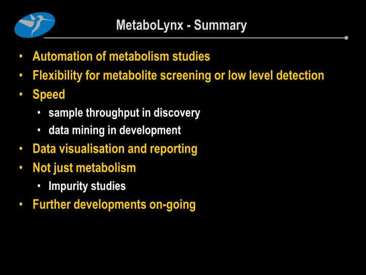 MetaboLynx - Summary