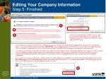 editing your company information step 5 finished