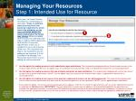 managing your resources step 1 intended use for resource