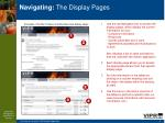 navigating the display pages