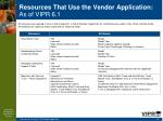 resources that use the vendor application as of vipr 6 153
