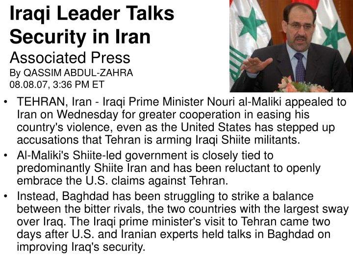 Iraqi Leader Talks Security in Iran