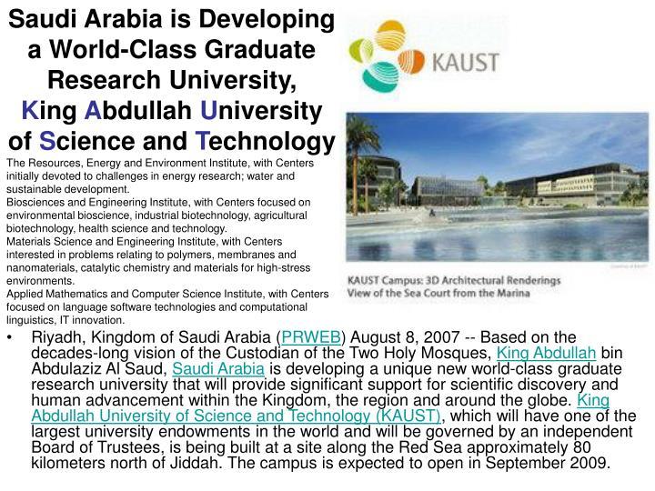 Saudi Arabia is Developing a World-Class Graduate Research University,