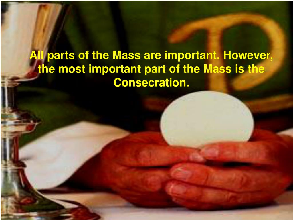 All parts of the Mass are important. However, the most important part of the Mass is the Consecration.